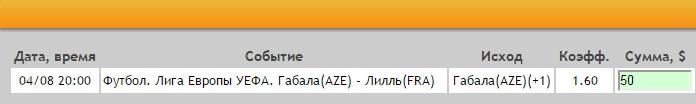 Ставка на Лига Европы. Третий квалификационный раунд. Габала – Лилль. Прогноз на матч 4.08.16 - прошла.