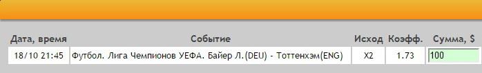 Ставка на Лига Чемпионов. Группа E. Байер Леверкузен – Тоттенхэм. Прогноз на матч 18.10.16 - прошла.