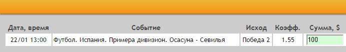 Ставка на Примера. Осасуна – Севилья. Прогноз на матч 22.01.17 - прошла.