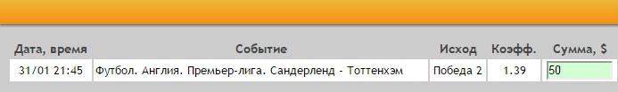 Ставка на АПЛ. Сандерленд – Тоттенхэм. Прогноз на матч 31.01.17 - не прошла.