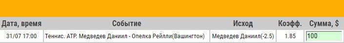 Ставка на ATP. Citi Open. 1/32 финала. Даниил Медведев – Рейлли Опелка. Прогноз на матч 31.07.17 - прошла.