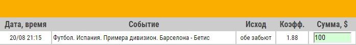 Ставка на Примера. Барселона – Бетис. Анонс и прогноз на матч 20.08.17 - не прошла.