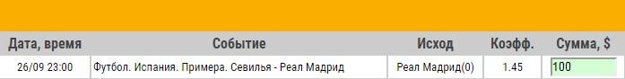 Ставка на Примера. Севилья – Реал Мадрид. Превью и ставка на матч 26.09.18 - не прошла.