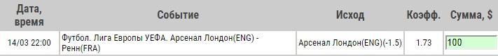 Ставка на Лига Европы. Арсенал – Ренн. Превью и прогноз на матч 14.03.19 - прошла.