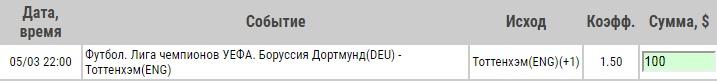 Ставка на Лига Чемпионов. Боруссия Дортмунд – Тоттенхэм. Прогноз на матч 5.03.19 - прошла.