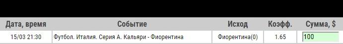Ставка на Серия А. Кальяри – Фиорентина. Прогноз на матч 15.03.19 - ожидается.