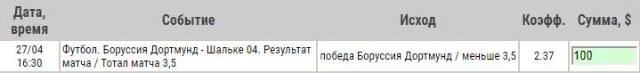Ставка на Бундеслига. Боруссия Дортмунд – Шальке. Анонс и прогноз на матч 27.04.19 - ожидается.
