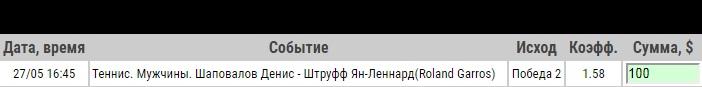 Ставка на ATP. French Open. Денис Шаповалов – Ян-Леннард Штруфф. Превью к матчу 27.05.19 - прошла.