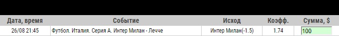 Ставка на Серия А. Интер – Лечче. Прогноз от профессионалов на матч 26.08.19 - прошла.