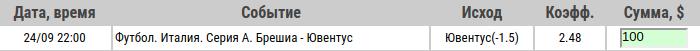 Ставка на Серия А. Брешиа – Ювентус. Прогноз и ставка на матч 24.09.19 - не прошла.