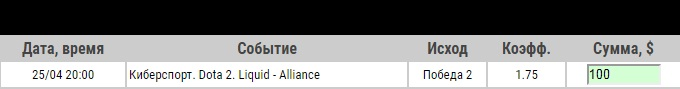Ставка на WePlay! Pushka League. Liquid – Alliance. Прогноз и ставка на матч по Dota 2 на 25.04.2020 - ожидается.