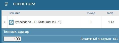 Ставка на Курессааре – Нымме Калью. Бесплатный прогноз и ставка на матч чемпионата Эстонии на 19 мая 2020 года - ожидается.