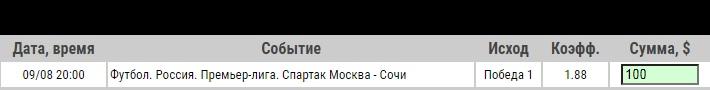 Ставка на Спартак Москва – Сочи. Прогноз и ставка на матч первого тура РПЛ (9.08.2020) - не прошла.
