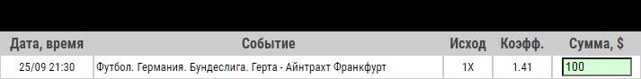Ставка на Бундеслига. Герта – Айнтрахт. Прогноз от профессионалов на матч 25.09.2020 - не прошла.